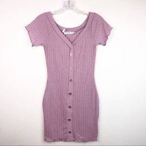 Mauve Pink Button Down Bodycon Mini Dress